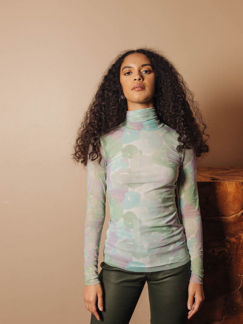 Printed Mesh Turtleneck in Mint