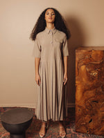 Melange Suiting Pleated Dress