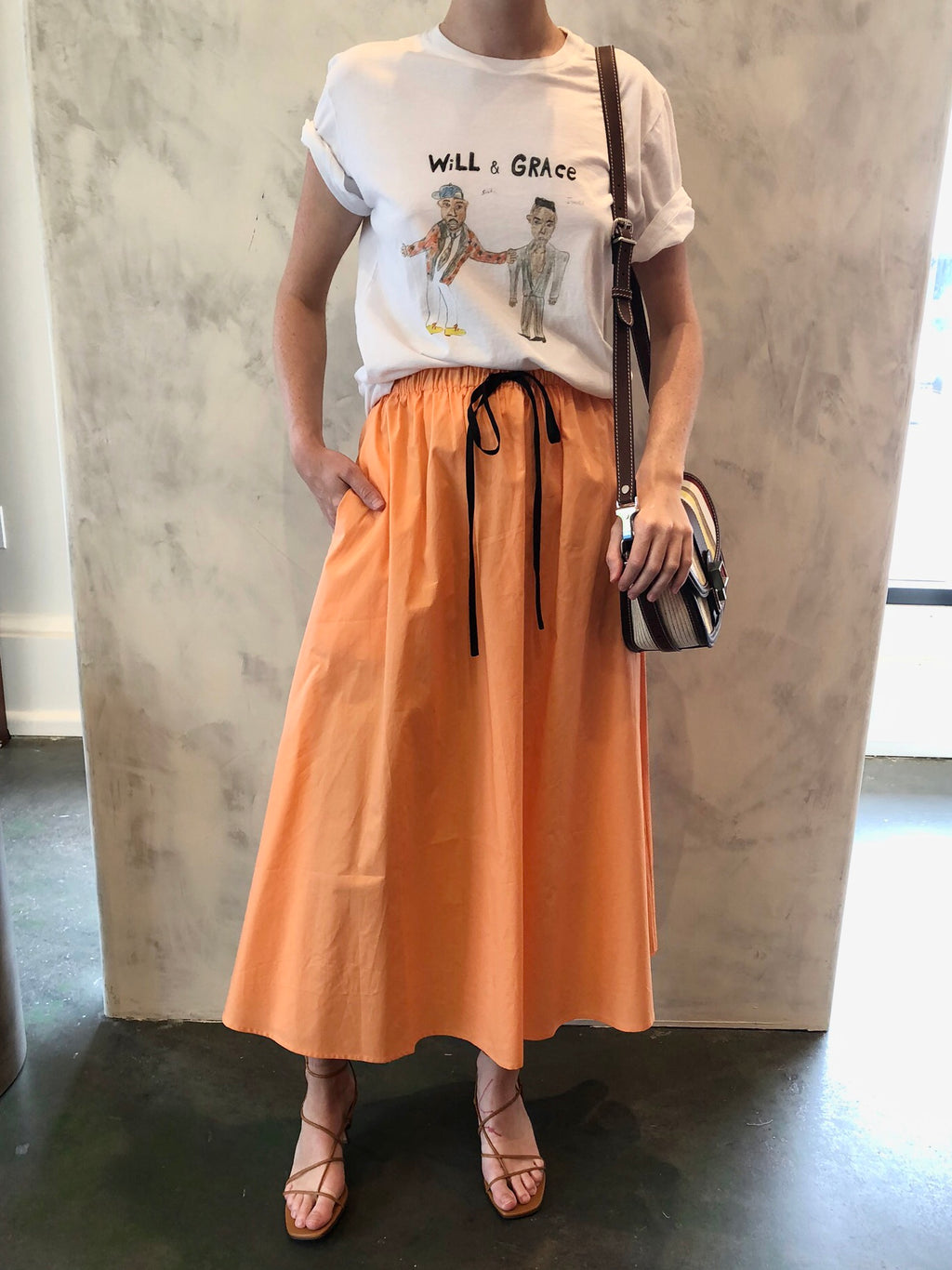 Horchata Cotton Skirt in Melon