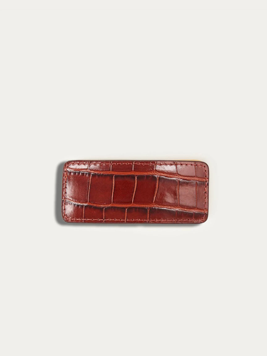 Croc Embossed Barrette in Chestnut