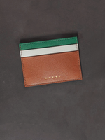 Saffiano Leather Card Case in Tobacco
