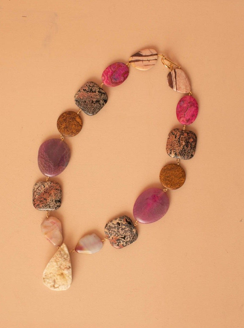Zebra Jasper and Agate Necklace with Calcite
