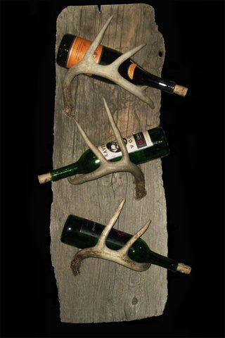 Rustic 3 Bottle Wine Rack – Wall Mounted On Driftwood - Rocky Mountain Antler Works