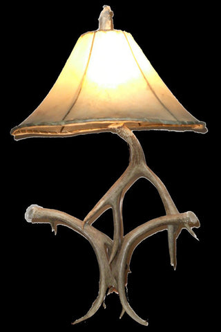 Antler Lamp With Oiled Rawhide Shade - RMAW