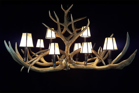 Mule Deer Chandelier – 10 Light – Elongated - Rocky Mountain Antler Works