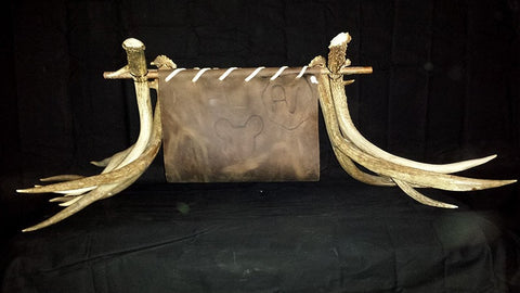 """John Wayne"" Leather and Antler Magazine Rack - Rocky Mountain Antler Works"