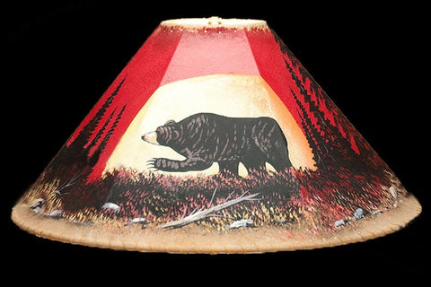 Lamp Shade-Bear 20″ Painted Leather Lamp Shade -Moonlit Bear - Rocky Mountain Antler Works