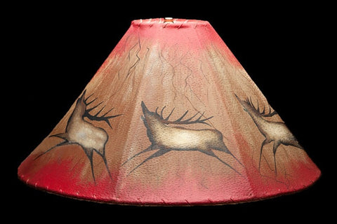 Lamp Shade 20″ Painted Leather Lamp Shade - Elk - Rocky Mountain Antler Works