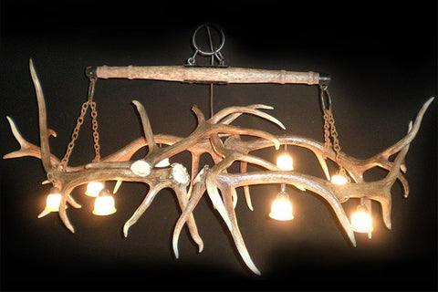 "Elk Antler Pool Table / Rustic Bar Light or Long Table Chandelier With Antique ""Single Tree"" - RMAW"