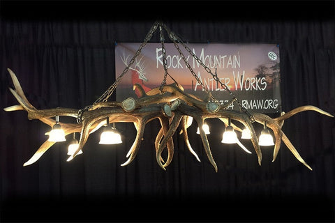 Elk Antler Pool Table / Bar Light / Long Table Chandelier - Rocky Mountain Antler Works