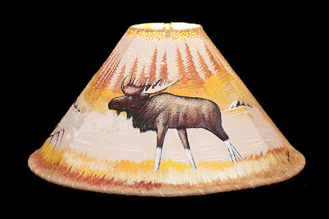 20″ Painted Leather Lamp Shade -Moose - RMAW