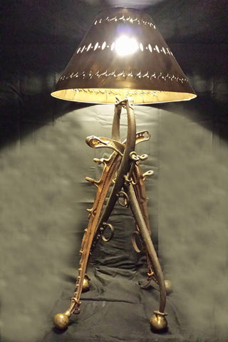 """The Rancher"" Antique Horse Collar Lamp - RMAW"