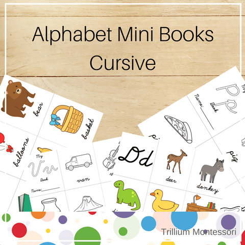 Mini Alphabet Books- Cursive - Trillium Montessori