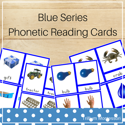 Blue Series Phonetic Reading Cards - Trillium Montessori