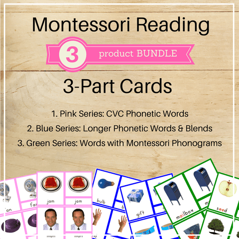 Bundle 8: Montessori Reading 3 Part Cards - Trillium Montessori