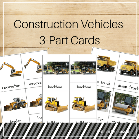 Construction Vehicles 3-Part Cards - Trillium Montessori