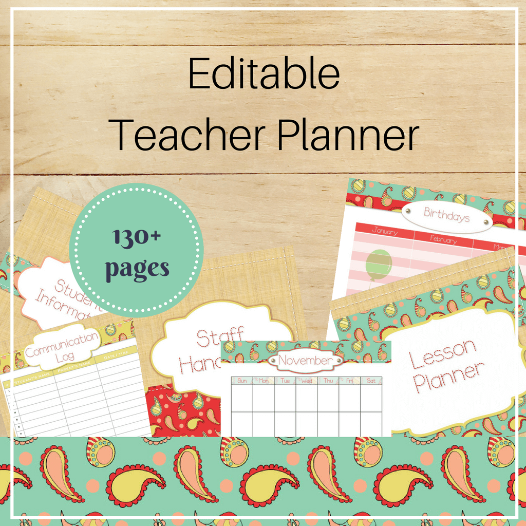 Editable Teacher Binder: Stitched Paisley