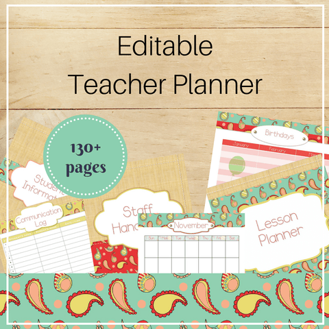 Editable Teacher Binder: Stitched Paisley - Trillium Montessori