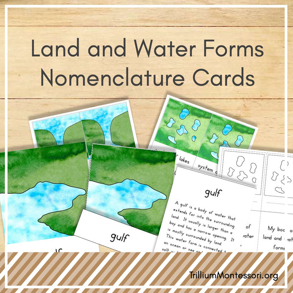 Land and Water Forms Nomenclature Cards