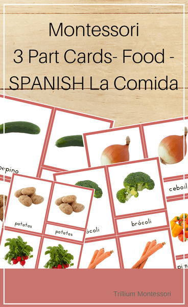 Montessori 3 Part Cards- Food - SPANISH La Comida - Trillium Montessori