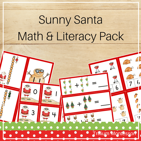 Sunny Santa Math and Literacy Pack - Trillium Montessori