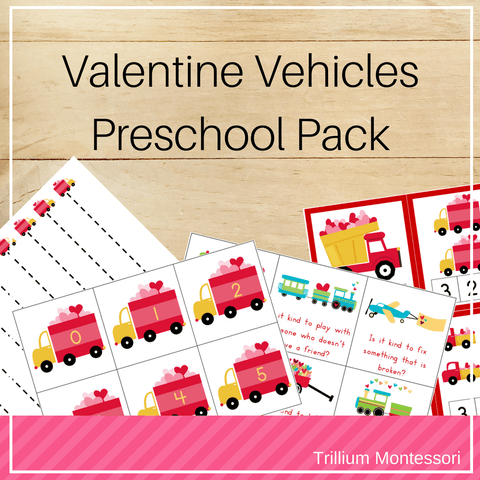 Valentine Vehicles Preschool Pack - Trillium Montessori