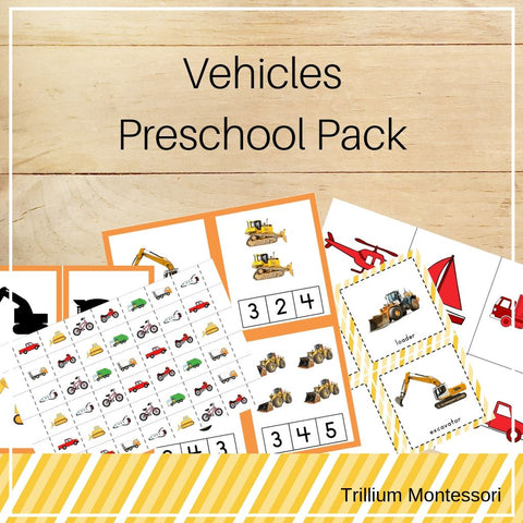 Vehicles Preschool Pack - Trillium Montessori