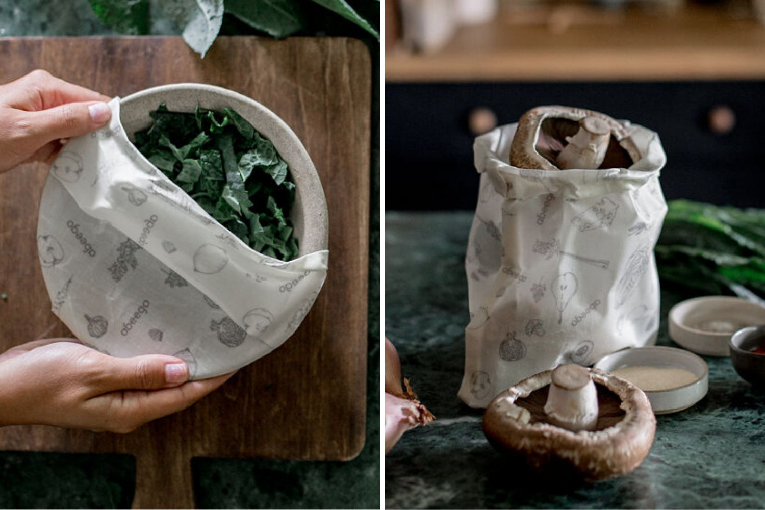 Save leftovers with Abeego Beeswax Wraps | Zero waste bowl covers and plastic free food bags