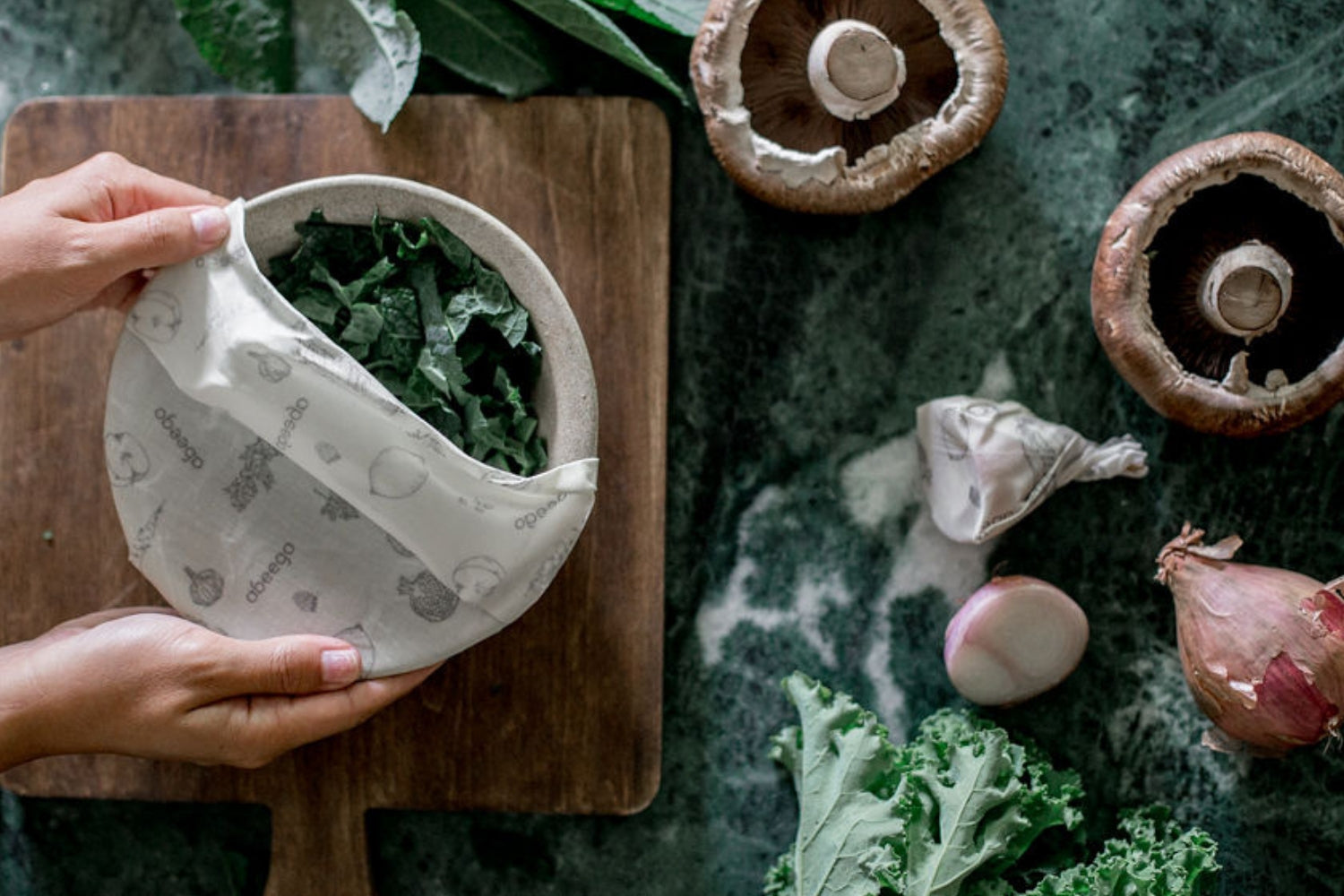 Wrap kale and mushrooms in Abeego and keep them fresh for longer. Beeswax food wraps.