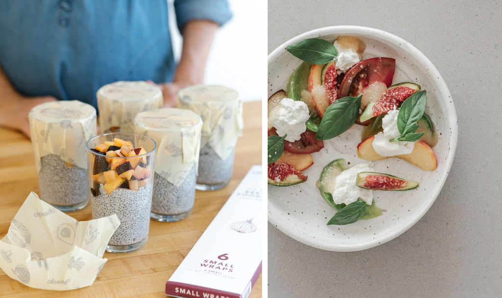chia pudding jars covered with a Small Abeego beeswax food wrap