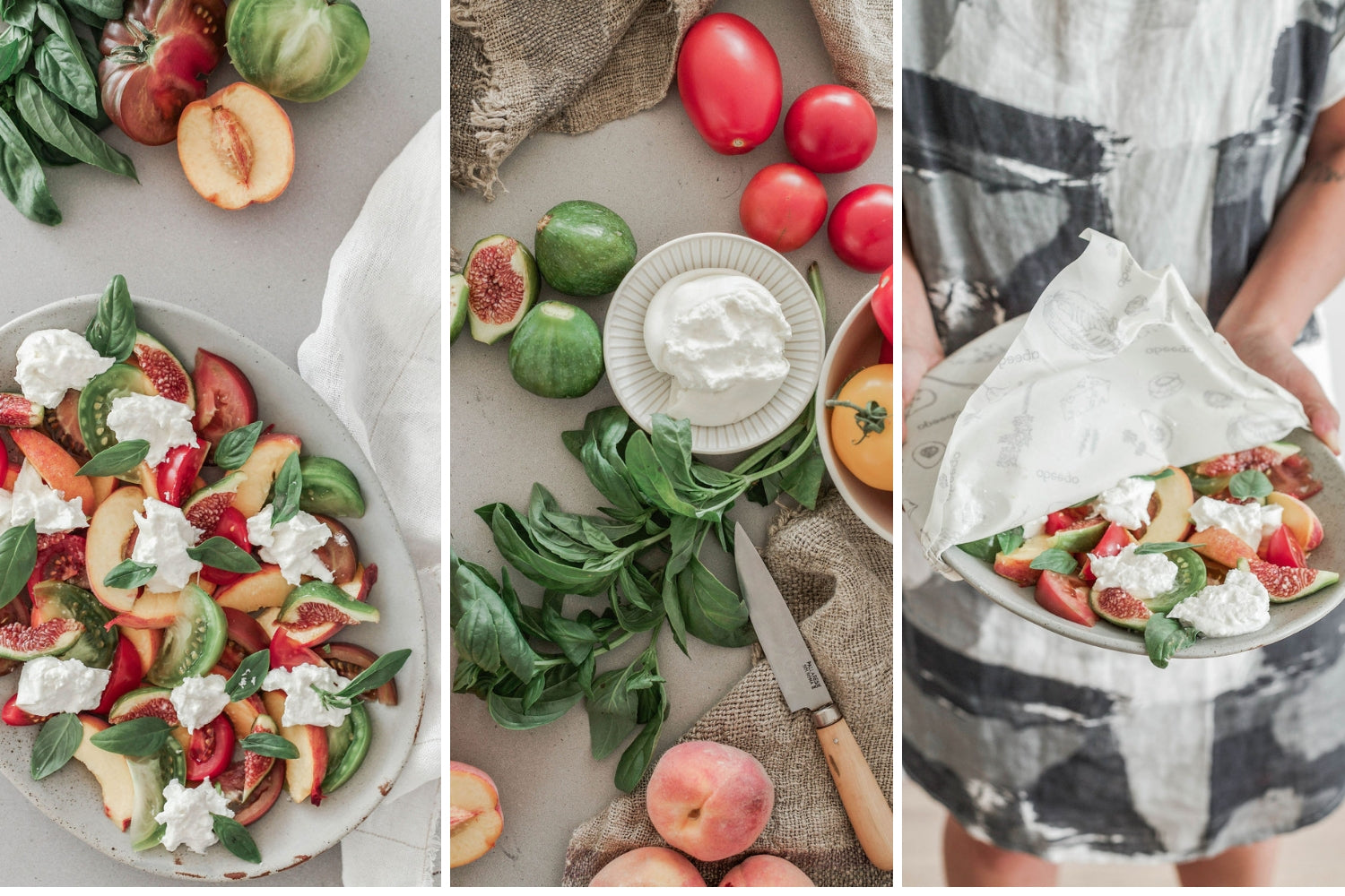 Burrata Salad with Tomatoes | Abeego | Reusable Beeswax Food Wrap that Breathes