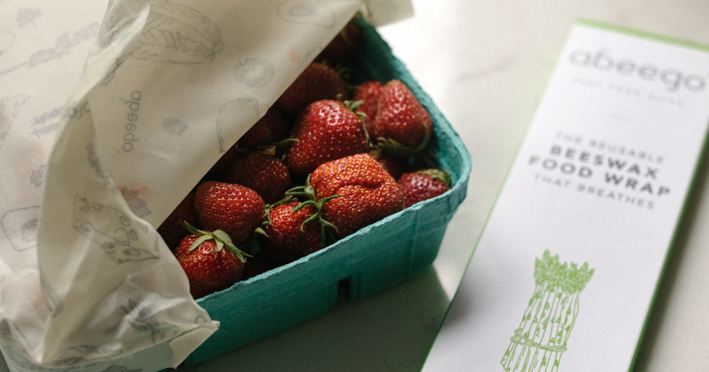 strawberries covered with Abeego food wrap