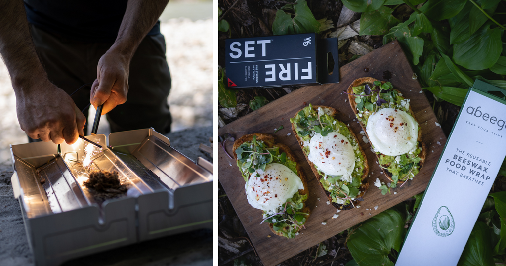 Fires Set striking a fire and Abeego next to avocado toast with egg