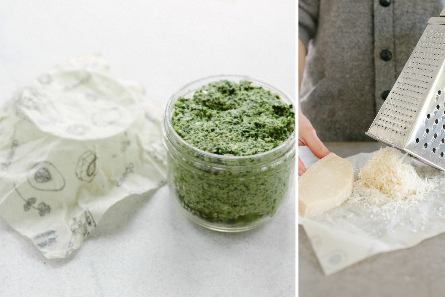 Using Abeego to cover kale pesto and cheese | beeswax wraps plastic wrap alternative