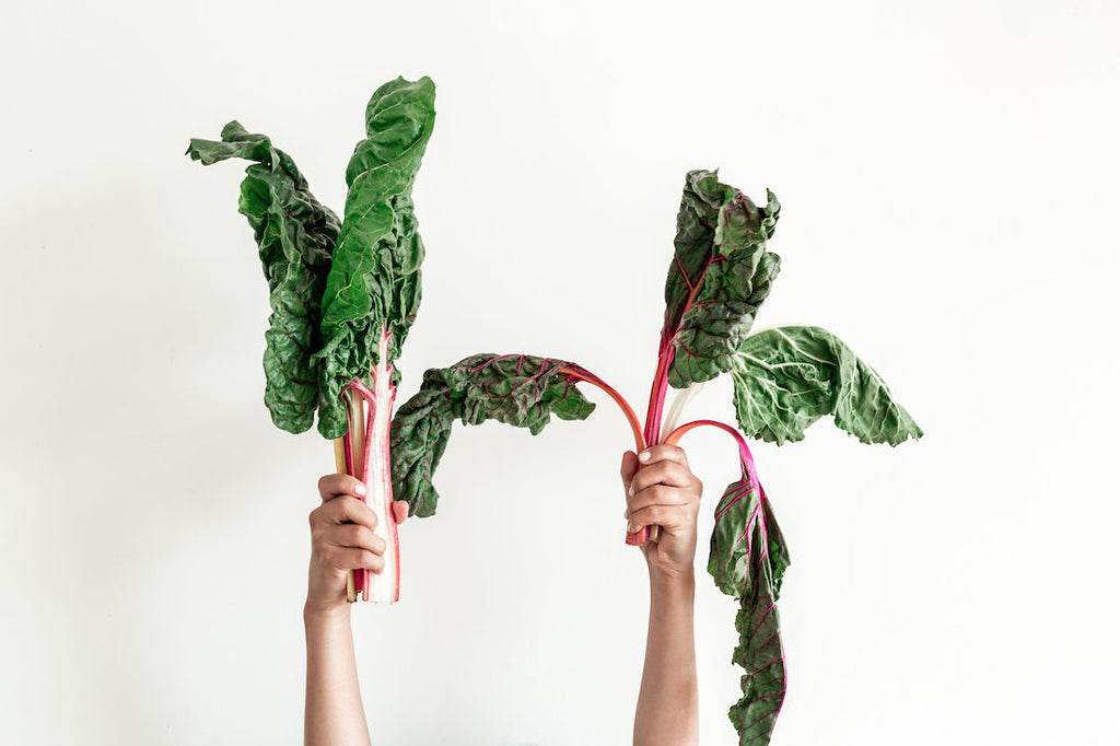 Swiss chard left naked and swiss chard wrapped in Abeego