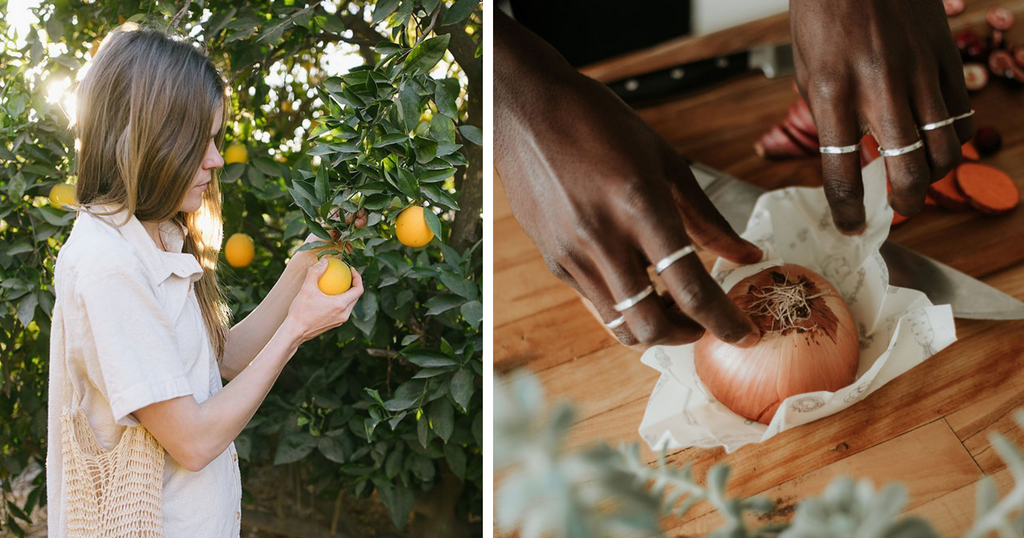 person picking citrus from a tree and person wrapping a halved onion on Abeego