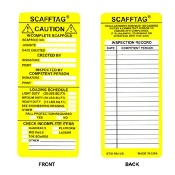 Scafftag® Yellow Caution Inserts