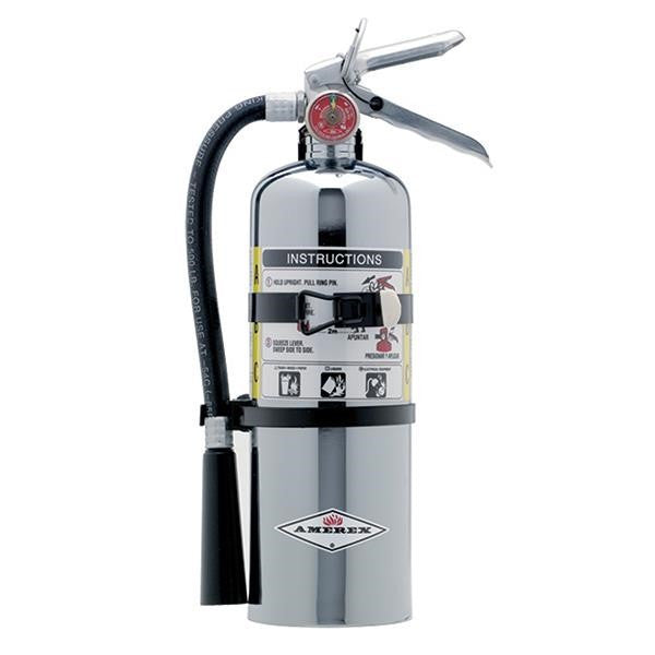 Amerex® 5 lb ABC Chrome Extinguisher w/ Vehicle/Marine Bracket