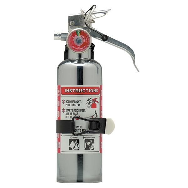 Amerex® 1 lb BC Chrome Extinguisher w/ Aluminum Valve & Vehicle Bracket