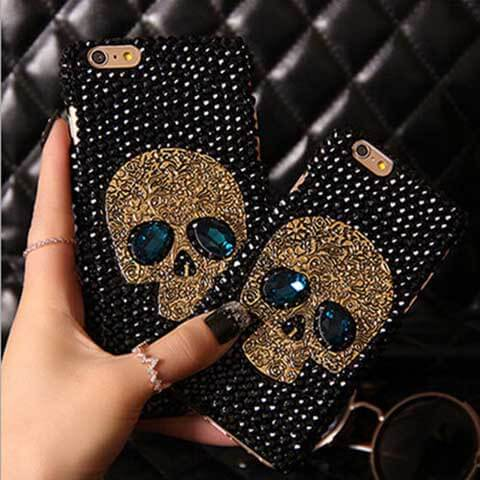 diamond bling rhinestone skull case for samsung and iphone