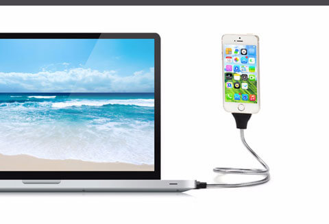 flexible phone dock tripos connects to laptop