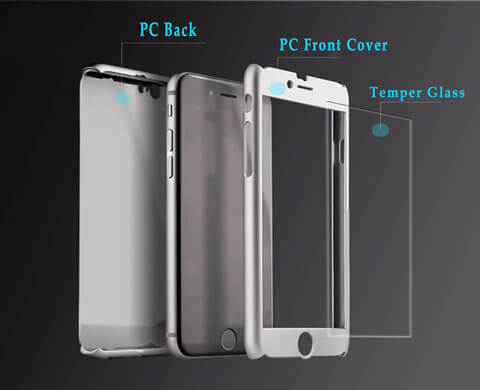 hybrid 360 degrees tempered glass armor case for iphone 6 6s 6plus parts