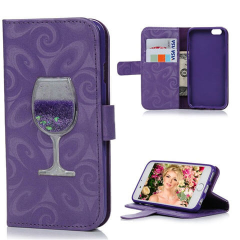 liquid wine iphone leather wallet case