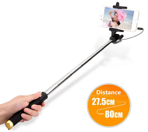 universal mini selfie stick expanded size
