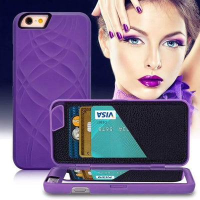 iphone case with mirror and card slot purple preview