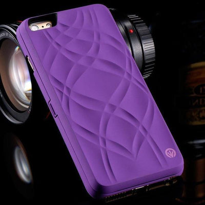iphone case with mirror and card slot purple