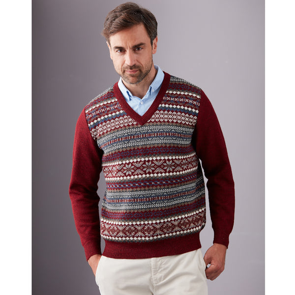 Cruz Intarsia V-Neck Sweater - Spirit of the Andes