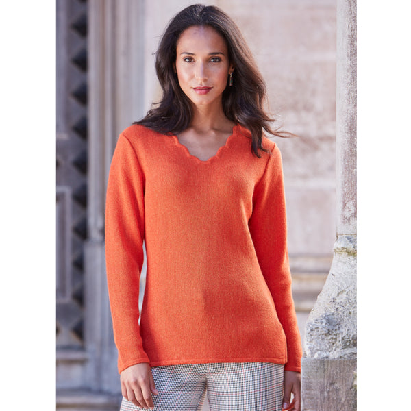 Katia Scallop V-Neck Sweater - Spirit of the Andes