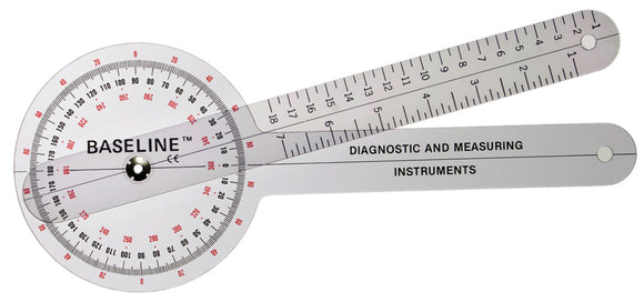 Baseline® Plastic Goniometer - 360 Degree Head - 12 inch Arms