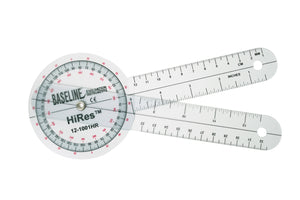 Baseline® Plastic Goniometer - HiRes™ 360 Degree Head - 8 inch Arms